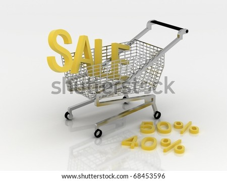 Cart for the shopping in sales - stock photo