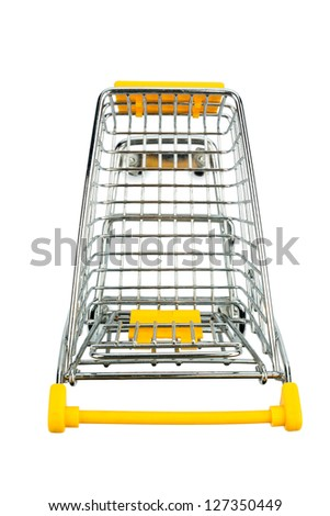 cart in front of white background, symbol photo for consumption and purchasing power crisis