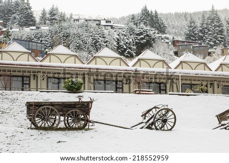 Cart on snow - stock photo