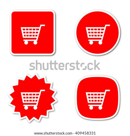 cart simple red web internet icon set flat design sticker tag