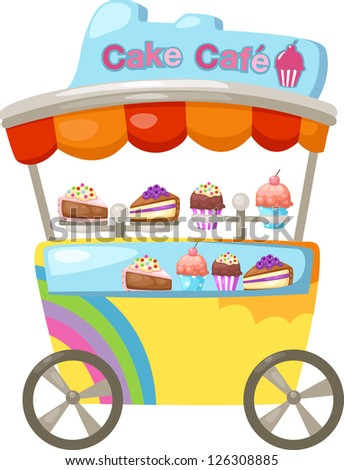 cart stall and a cupcake . jpg (EPS vector version id 126059231,format also available in my portfolio) - stock photo