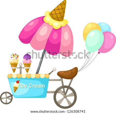 cart stall and a ice cream . jpg (EPS vector version id 126059234,format also available in my portfolio) - stock photo