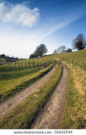 cart tracks through farmland near Lough Gur in Co.Limerick, Ireland