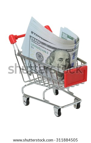 Cart with dollars on a white background