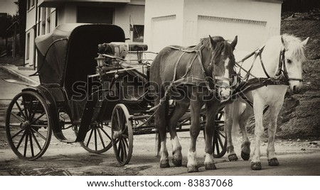 Cart with two horses, retro style, in sepia - stock photo