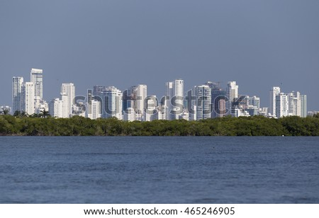 CARTAGENA, COLOMBIA - OCTOBER 29, 2015: The hotel zone of Cartagena. It is the fifth-largest city in Colombia and the second largest in the region, after Barranquilla.