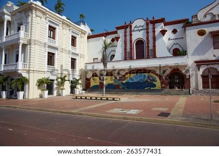 CARTAGENA DE INDIAS, COLOMBIA - JANUARY 28, 2015: Colourful murals decorating the historic Teatro Colon in the UNESCO World Heritage City of Cartagena de Indias in Colombia - stock photo