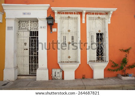 CARTAGENA DE INDIAS, COLOMBIA - JANUARY 25, 2015: Historic Spanish colonial style house in the UNESCO World Heritage Site of Cartagena de Indias in Colombia - stock photo