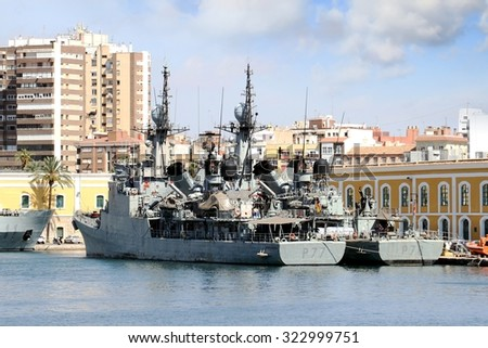 CARTAGENA, SPAIN - SEPTEMBER 24: Coastguard P77 INFANTA CRISTINA and P78 CAZADORA of the Spanish Navy docked in the port of Cartagena in the Mediterranean sea, on september 24, 2015 in Murcia. - stock photo