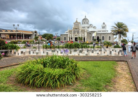 CARTAGO, COSTA RICA - JANUARY 25: The pilgrimage site Our Lady of the Angels Basilica (Basilica de Nuestra Senora de los Angeles) in Cartago, Costa Rica on January 25, 2015 - stock photo