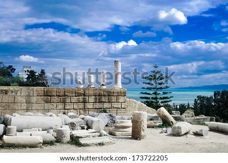 CARTHAGE BEAUTIFUL VIEW OF ANCIENT TOWN RUINS - stock photo