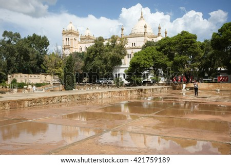 CARTHAGE, TUNISIA - SEPTEMBER 14, 2012 : The Saint Louis Cathedral on Byrsa hill at Carthage, Tunisia. - stock photo