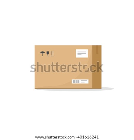Carton box container illustration, cardboard box pack with handling packing icons, text stickers, bar code, closed parcel box, package paper box flat cartoon design isolated on white image - stock photo