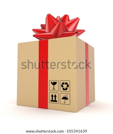 Carton box decorated with a red ribbon.Isolated on white background.3d rendered. - stock photo