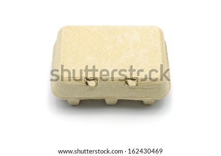 Carton box for eggs isolated on white. - stock photo
