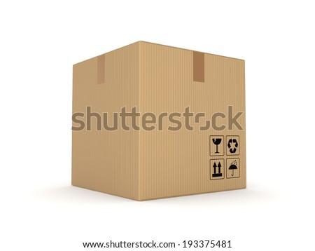 Carton box isolated on white background. - stock photo