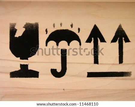 Carton box markings - stock photo