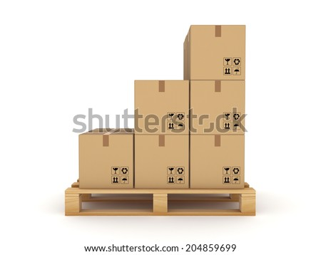 Carton box on a pallet.Isolated on white. - stock photo