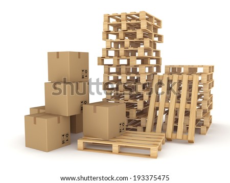 Carton boxes and pallets isolated on white. - stock photo