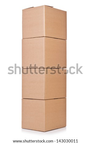Carton boxes isolated on the white background - stock photo