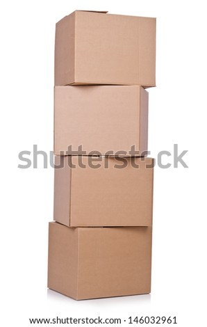 Carton boxes isolated on the white background