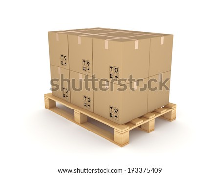 Carton boxes on a pallet.Isolated on white. - stock photo