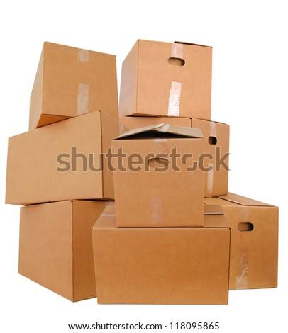 Carton boxes on packing - stock photo