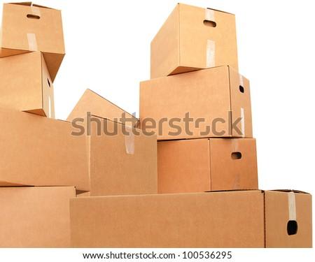 Carton boxes on stacking - stock photo