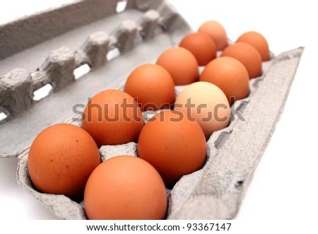 Carton of a dozen eggs - stock photo
