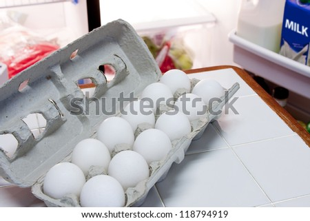 Carton of eggs and half gallon of milk in refrigerator - stock photo