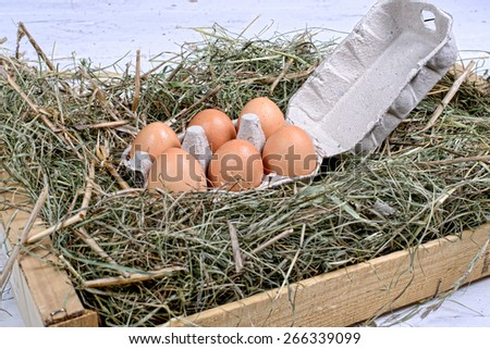 carton of eggs in the straw