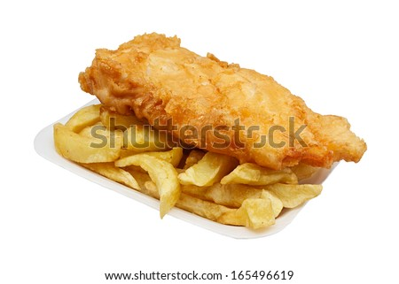 Carton of fish and chips. A traditional British takeaway choice isolated on white - stock photo