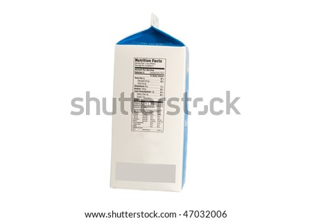 Carton  of milk with nutrition label isolated on white background - stock photo
