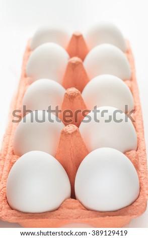 Carton of organic eggs. Selective focus. - stock photo