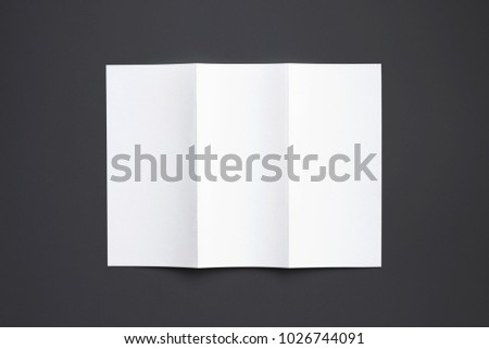 Carton Tri fold brochure isolated on black. 3d illustration for your design presentation.