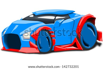 cartoom illustration of futuristic blue car