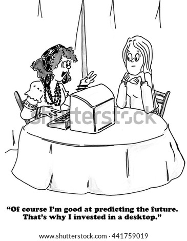 Cartoon about a fortune teller.