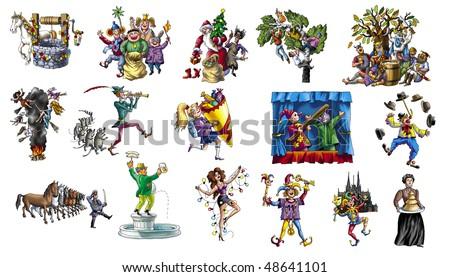 Cartoon about celebrating the various holidays_2 - stock photo