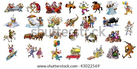 Cartoon about celebrating the various holidays (Christmas and other) - stock photo