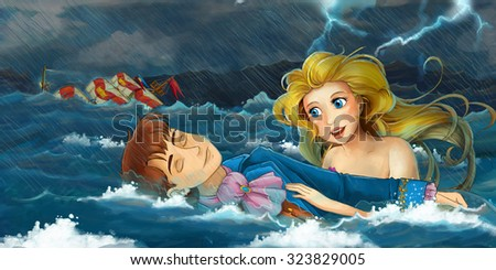 Cartoon adventure scene - storm on the sea - scene with mermaid rescuing someone - illustration for the children - stock photo