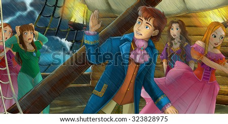 Cartoon adventure scene - storm on the sea -  storm on the sea - illustration for the children - stock photo