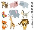 Cartoon african animals set on white background (raster version) - stock photo