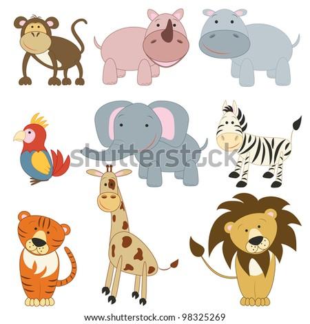 Cartoon african animals set on white background (raster version) - stock photo