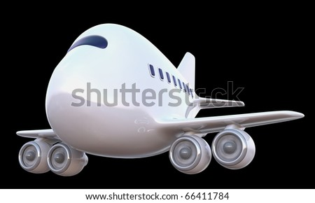 Cartoon 747 airplane isolated against a black background. - stock photo