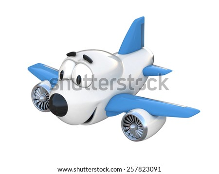 Cartoon airplane with a smiling face - stock photo