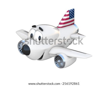 Cartoon airplane with a smiling face - American flag - stock photo