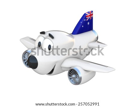 Cartoon airplane with a smiling face - Australian flag - stock photo
