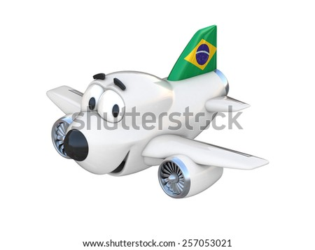 Cartoon airplane with a smiling face - Brazilian flag - stock photo