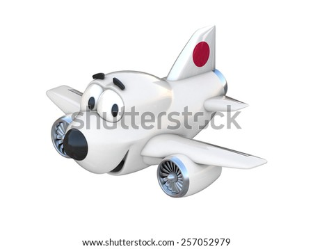 Cartoon airplane with a smiling face - Japan flag - stock photo
