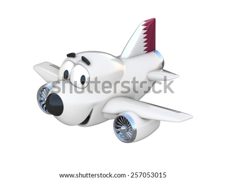 Cartoon airplane with a smiling face - Qatar flag - stock photo